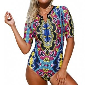 Other - Abstract Print Zip Front Half Sleeve Bathing Suit